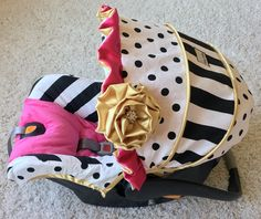 Custom Infant Car Seat Cover - Black and White Stripe and Polka Dot, Hot Pink, and Gold