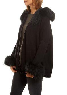 Annette Gortz Black Swing Cardigan With Fur Trim - Jessimara