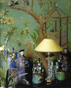 爱 Chinoiserie?爱 home decor in Chinese Chippendale style - Chinoiserie vignette