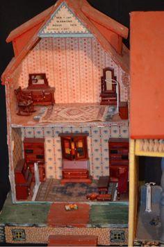 Vintage Wood & Litho Dollhouse Bea-Jay De Armond  Miniature & Furniture
