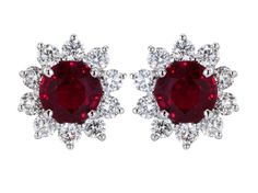 2.21ct Ruby & Diamond Cluster Earrings
