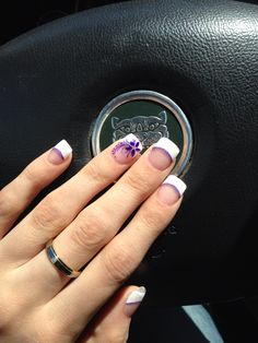 Instagram 'swogel94' for more nail inspiration. French acrylic nails with purple flower.