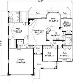 Country Traditional Level One of Plan 95801. 1580 Sq. Ft. PROS: 3 bedrooms, 2 full baths;  Multi-purpose room; front porch. I would eliminate 1 master br closet to extend the laundry room, adding a pet bathing area and extra storage for cleaning supplies.