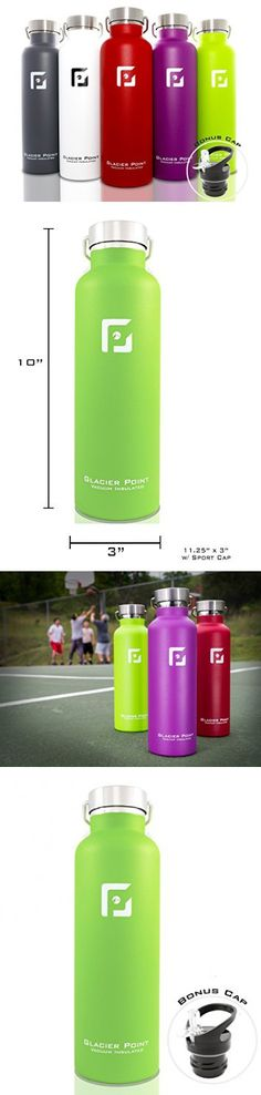 Best Vacuum Insulated Stainless Steel Water Bottle (25oz / 750ml). Double Walled Construction. Zero Condensation! By Glacier Point (Green)