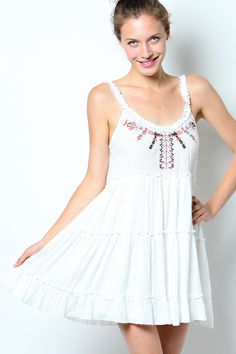 White Tribal Tank Dress – Laney Lu's Boutique www.laneylus.com Redwood Falls, MN Summer dress, spring break dress, vacation dress