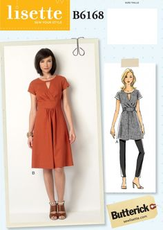 introducing new lisette patterns for butterick B6168 semi-fitted dress or tunic with a pleated cross-over detail.
