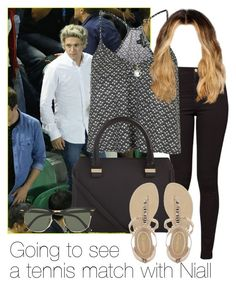 """""""Going to see a tennis match with Niall"""" by style-with-one-direction ❤ liked on Polyvore featuring American Apparel, Topshop, Accessorize, Victoria Beckham, NYLO, Ray-Ban, OneDirection, 1d, NiallHoran and niall horan one direction 1d"""
