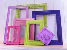 Dorm Decor, Frames, Vintage, Princess and the Pea, Apartment Decor, Funky, Colorful Frames