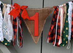 First Birthday Highchair Banner Fabric Rag Tie by AmpersandGO