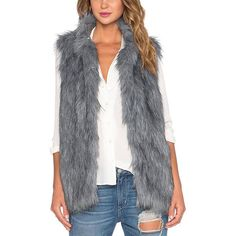 Yoins Yoins Grey Fur Gilet ($25) ❤ liked on Polyvore featuring outerwear, vests, grey, grey waistcoat, gray vest, gray fur vest, faux fur waistcoat and faux fur vest