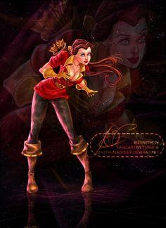 Belle dressed as Gaston