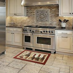 Small Kitchen Remodeling Mohawk Home New Wave (Blue) French Cellar Area Rug - x (Multi-Colored) - Kitchen Tiles, Diy Kitchen, Kitchen Interior, Kitchen Sink, Kitchen Layout, Lowes Kitchen Cabinets, Soapstone Kitchen, Condo Kitchen, Kitchen Rustic