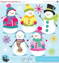 Snowman clipart commercial use, vector graphics, digital clip art, digital images  - CL585