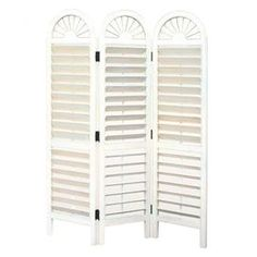 Wood room divider with adjustable louvers and arched tops.    Product: Room divider   Construction Material: Hardwood   Color: White  Features: Arch top venetian style   Adjustable louvers  Will enhance any dcor  Dimensions: 72 H x 54 W (overall)