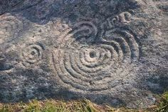The Mogor labyrinth, Galicia, Spain dating from about 2000 BC is carved on a seaside stone