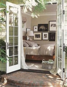 Every bedroom should have french doors to the backyard...morning coffee outside...<3 it!