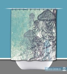 jellyfish shower curtain nautical sea life water inspired 12 hole top printed in usa
