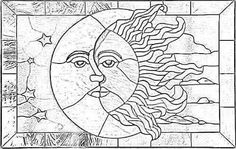Free Printable Stained Glass Patterns Sun and Moon Beginner Mosaic Patterns Coloring Pages stained glass pattern of sun and moon with stars and clouds - kool pattern for plate carving maybe just the half sun in plain circle. Free Mosaic Patterns, Stained Glass Patterns Free, Stained Glass Quilt, Faux Stained Glass, Stained Glass Designs, Stained Glass Panels, Stained Glass Projects, Wood Patterns, Flower Patterns
