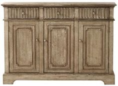 Home Decorators Collection, Manor 3 Door Buffet in Washed Oak, 1308100930 at The Home Depot - Tablet Sideboard Furniture, Dining Room Furniture, Painted Furniture, Craftsman Dining Room, Taupe Walls, Kitchen Buffet, Round Table Top, Beautiful Interior Design, Home Decor Inspiration