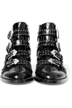 Givenchy - Studded Ankle Boots In Black Croc-effect Glossed-leather - IT36.5
