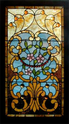 Victorian Stained Glass Window, circa 1890 I like that little red necklace of jewels in the middle. It's an interesting commonality in Victorian stained glass. Antique Stained Glass Windows, Stained Glass Door, Stained Glass Designs, Stained Glass Panels, Stained Glass Projects, Stained Glass Patterns, Leaded Glass, Art Nouveau, Art Deco