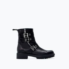 ZARA - SHOES & BAGS - LEATHER BIKER BOOT WITH BUCKLES