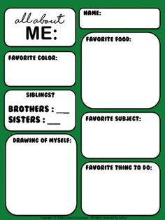 All About Me worksheet(FREE)