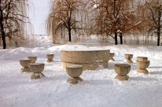 Table of Silence Covered with Snow, Constantin Brancusi Creative Commons Photos, Constantin Brancusi, Public Domain, Installation Art, Museum, Snow, Cover, Winter, Table