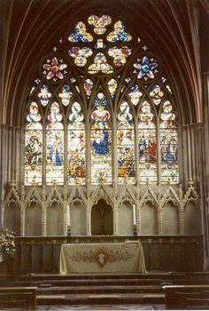 Exeter Cathedral, in the Lady Chapel at the east end of the building, Devon, Great Britain. by elaine Carl Sagan, Sacred Architecture, Amazing Architecture, Devon, Exeter Cathedral, Medieval Stained Glass, Wood Owls, Church Of England, Church Banners