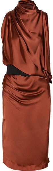 Donna Karan New York Asymmetric Draped Satin Jersey Dress