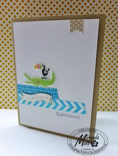 "Adorable card by Miranda Mols. Featuring stamp sets ""Zoo Babies"" and ""Tape It"". I found this on stampinup.com"