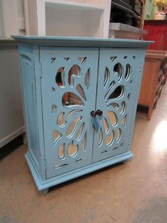 Adorable Mirrored Front Cabinet! #furniture #nadeau #charleston #FWAS #mirror #carved #cabinet
