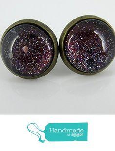 Antiqued Gold-Tone Glitter Glass Galaxy Stud Earrings Black Hole 12mm from Summerfield Collection https://www.amazon.com/dp/B01HJ6I3P6/ref=hnd_sw_r_pi_dp_LnnpybGCYPES0 #handmadeatamazon