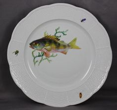 Vintage Meissen Porcelain Fish Dinner Plate Hand Painted