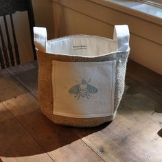 Bee still my heart, a blue bee bucket from Maya Hessian Crafts, Hessian Bags, Maya, Confetti Bags, Coffee Sacks, Craft Fairs, Gift Bags, Bag Storage, Purses And Bags