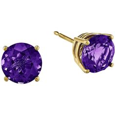 Round Genuine Amethyst 14K Yellow Gold Earrings ($225) ❤ liked on Polyvore featuring jewelry, earrings, yellow gold earrings, 14 karat gold earrings, tri color gold earrings, round earrings and amethyst stud earrings