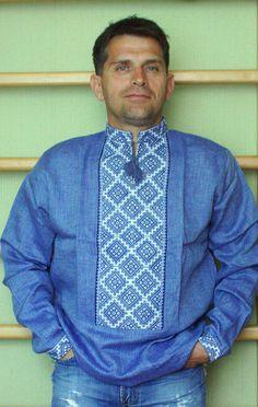 Blue denim color mens shirt Ukrainian vyshyvanka embroidered Slavic folc dress L #unbrended #vyshyvanka