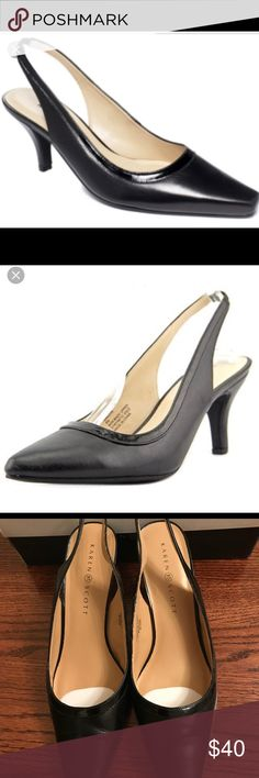 KAREN SCOTT Black slingback pointy toe shoes 9.5 KAREN SCOTT Black slingback pointy toe shoes 9.5  Excellent condition worn only once for a few hours  Please refer to my pictures for more details. Karen Scott Shoes Heels