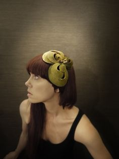 Sculptural Olive Green Felt Headband with Vintage Button and Porcupine Quills