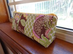 Amy Butler Patchwork Cotton Zippered Pencil Case/Make-Up Pouch