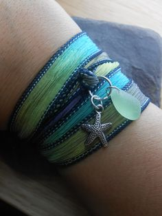 Sea Glass Jewelry -  Silk Ribbon Wrap Charm  Bracelet, Necklace, Or Anklet - Wrap It Up - COASTAL LIVING.