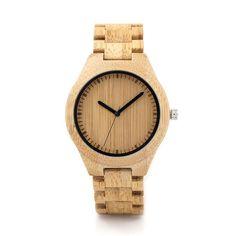 """""""Minimalistic Dial"""" Bamboo Wood Quartz Watch - Wood Band (45mm)"""