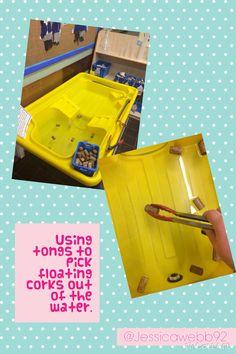 Picking up corks with tongs Preschool Science Activities, Nursery Activities, Motor Skills Activities, Preschool Class, Gross Motor Skills, Classroom Activities, Preschool Activities, Fine Motor Skills Development, Physical Development