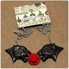www.brokencherry.com #jewelry #panthers #roses #charcoaldesigns  Black Panther Necklace   $15.00