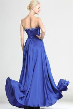 osell wholesale dropship Chiffon Pleated Beading Sweetheart Sleeveless Floor Length A Line Evening Prom Dresses $86.66