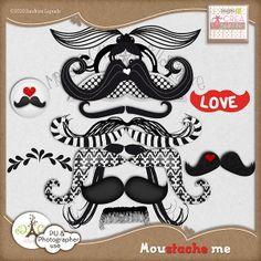 Moustache Me element pack freebie from Designs by Crea Bisontine #digiscrap #scrapbooking #digifree #scrap #freebie #scrapbook