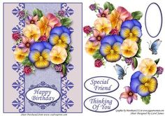 Card Front Summer Pansies on Craftsuprint designed by Carol James - A cardfront with some decoupage pieces for that 3d effect. Can be used for lots of different occasions like Birthdays, Mother's Day, Best Wishes, Anniversaries, Thinking of You, Thanks, etc. 3 sentiment tags and one blank tag are included. Sentiments read:Happy BirthdaySpecial FriendThinking Of You - Now available for download!