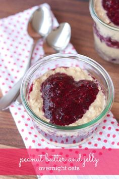 Peanut Butter and Jelly Overnight Oats -- packed with protein and perfect for Valentine's Day
