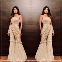 and in a Redifining Indian Wear . and in a Redifining Indian Wear . Party Wear Indian Dresses, Indian Gowns Dresses, Dresses To Wear To A Wedding, Dress Indian Style, Indian Wedding Outfits, Indian Outfits, Lehenga Choli Designs, Sharara Designs, Diwali Dresses