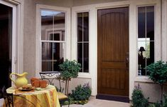 db-a1322-ft Aurora fiberglass doors are made to look and feel like solid wood, without any of the maintenance. Craftsman style door shown is displayed with two full glass sidelights, and decorative glass.